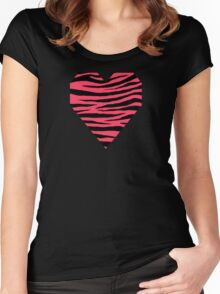 0453 Neon Fuchsia Tiger Women's Fitted Scoop T-Shirt