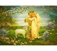 Lamb of God  and spring Angel  Photographic Print