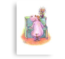 Hippo playing the Piano Pencil Drawing of Music Animal Canvas Print