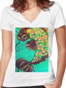lucky fish (aqua) Women's Fitted V-Neck T-Shirt