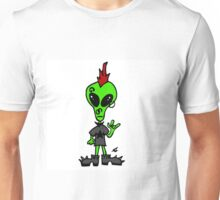 Little Greenie the Alien Discovers Punk Style! Unisex T-Shirt