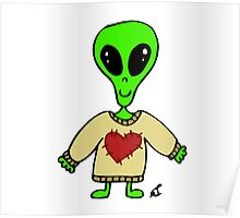 Little Greenie the Alien Discovers Cozy Sweaters! Poster