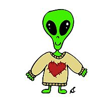 Little Greenie the Alien Discovers Cozy Sweaters! Photographic Print