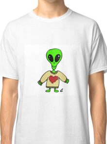 Little Greenie the Alien Discovers Cozy Sweaters! Classic T-Shirt