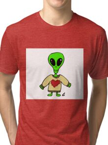 Little Greenie the Alien Discovers Cozy Sweaters! Tri-blend T-Shirt