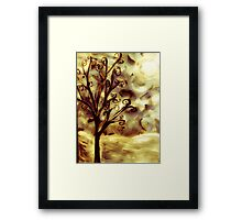 tree in the wind (firelight) Framed Print