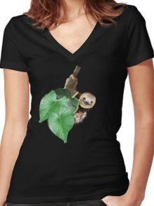 Jungle sloth Women's Fitted V-Neck T-Shirt