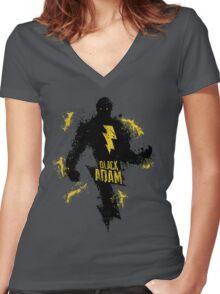 Black Adam Splatter Art Women's Fitted V-Neck T-Shirt