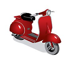 Moped in red Photographic Print