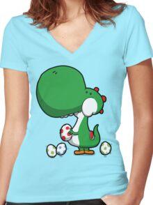 Egg Chuckin' Dinosaur Women's Fitted V-Neck T-Shirt