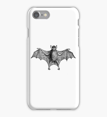 Vintage Halloween Bat Illustration Retro 1800s Black and White Bats Image iPhone Case/Skin