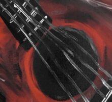 guitar (b and w) Sticker