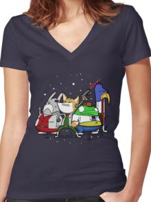 I see 'em up ahead. Let's rock 'n' roll! Women's Fitted V-Neck T-Shirt