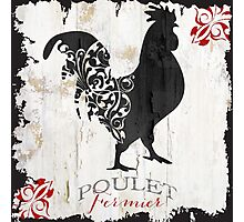 Ferme Rooster Poulet Damask Photographic Print