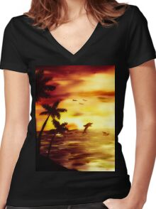dolphin sunset Women's Fitted V-Neck T-Shirt