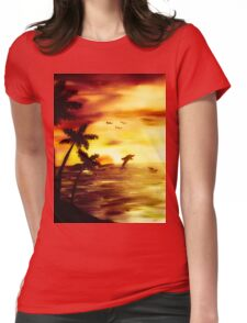 dolphin sunset Womens Fitted T-Shirt