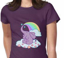 Kawaii Rainbow Elephant Womens Fitted T-Shirt
