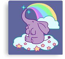 Kawaii Rainbow Elephant Canvas Print