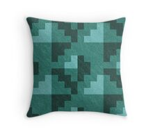 Green Diamond Pixels Throw Pillow