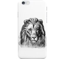 Vintage Lion Head Illustration Retro 1800s Black and White Image iPhone Case/Skin