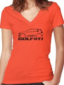 VW Golf GTI silhouette Black Women's Fitted V-Neck T-Shirt
