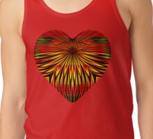 Sunflower Petals Gleam on a Red and Gold Heart Tank Top