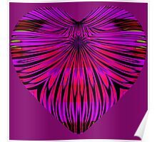 Art Deco Heart with Glowing Mauve and Purple Petals Poster