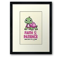 Faith Patience: One Day at a Time (Breast Cancer-Turtle) Framed Print