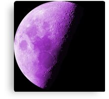 Purple Neon Moon Waning Quarter Phase of the Moon  Canvas Print