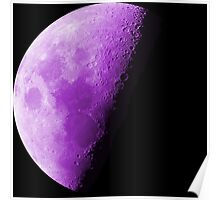 Purple Neon Moon Waning Quarter Phase of the Moon  Poster