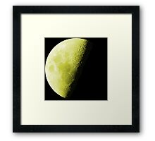 Yellow Luminous Neon Moon Waning Quarter Phase of the Moon Framed Print