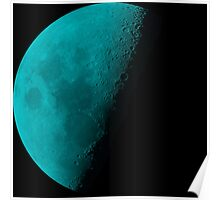 Bright Aqua Blue Neon Moon Waning Quarter Phase of the Moon Poster