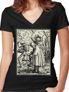 Totentanz, Dance of macabre (Holbein) Women's Fitted V-Neck T-Shirt