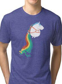 Fat Unicorn on Rainbow Jetpack Tri-blend T-Shirt