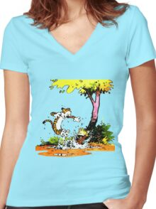 Calvin and Hobbs Playing Water Women's Fitted V-Neck T-Shirt