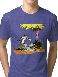 Calvin and Hobbs Playing Water Tri-blend T-Shirt