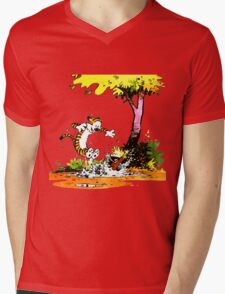 Calvin and Hobbs Playing Water Mens V-Neck T-Shirt