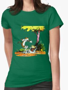 Calvin and Hobbs Playing Water Womens Fitted T-Shirt