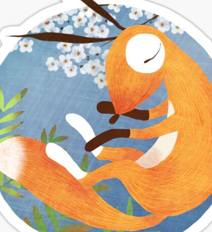 Sleeping Fox with Cherry Blossom and Fern Sticker