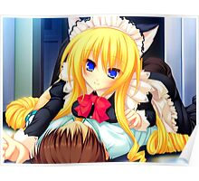 Blonde Neko French Maid Poster