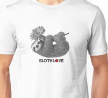 Sloth Love hanging from daisy flower Unisex T-Shirt