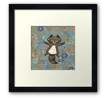 Funny little raccoon in the night Framed Print