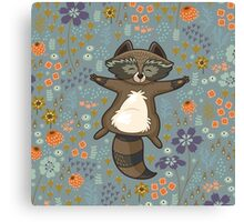 Funny little raccoon in the night Canvas Print