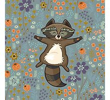 Funny little raccoon in the night Photographic Print