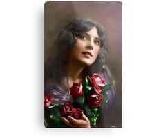 Colorized Vintage Young Beauty II Metal Print
