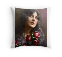 Colorized Vintage Young Beauty II Throw Pillow