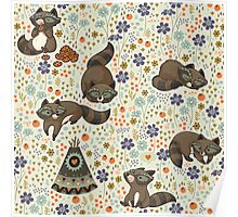 Funny little raccoons Poster