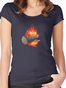 Calcifer, 8-bit painting style (Howl's moving castle) Women's Fitted Scoop T-Shirt