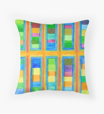 Striped Color Fields in Orange Grid  Throw Pillow