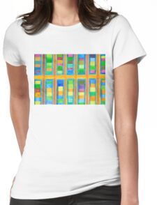 Striped Color Fields in Orange Grid  Womens Fitted T-Shirt